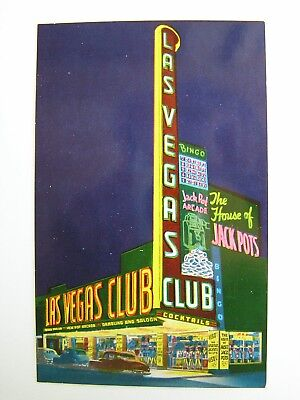 Las Vegas Club Downtown Las Vegas Nevada Unused Postcard