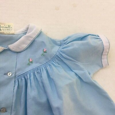 Nannette Baby Girls 12m Dress Vtg Blue Prairie Collar Embroidered Party 50s 60s