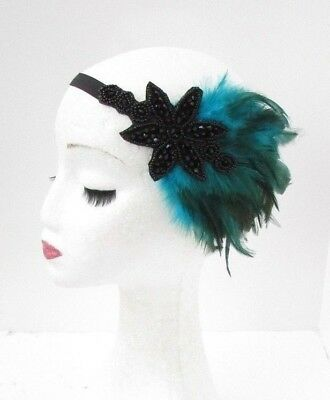 Black Teal Blue Green Feather Headpiece 1920s Headband Flapper Turquoise 4984