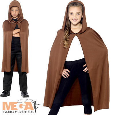 Brown Black Hooded Cape Boys Girls Kids Fairy Tale Fancy Dress Costume Accessory