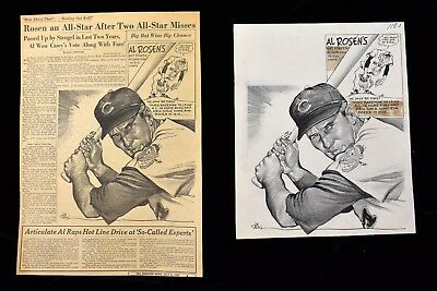 '53 Indians Rosen Leads HR's RBI's Sporting News Original Cartoon Art by Darvas