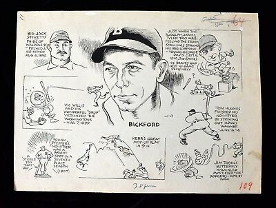 '50 Bickford No Hitter v Dodgers Sporting News Original Cartoon Art by Gene Mack