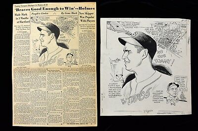 1948 Bob Feller & World Series Sporting News Original Cartoon Art by Gene Mack