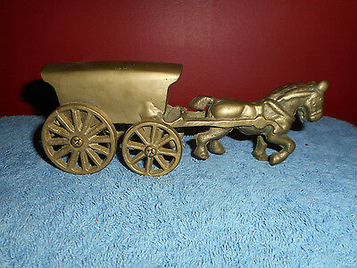Vintage HORSE WAGON Toy Solid Cast BRASS WESTERN CHUCK WAGON Horse Drawn Carriag