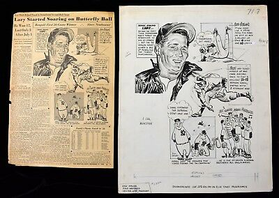 1956 Yankees Dominated by Tigers Frank Lary Sporting News Original Cartoon Art