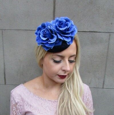 Royal Navy Blue Rose Flower Fascinator Pillbox Hat Hair Clip Races Velvet 4987