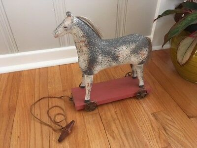 Vintage Sarreid Wood Horse Pull Toy/Hand painted and Crafted Folk Art Spain