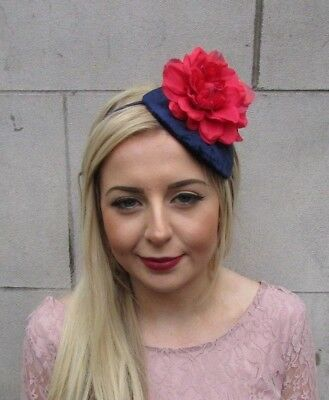 Navy Blue Red Velvet Fascinator Hair Headband Races Teardrop Vintage Hat 4989