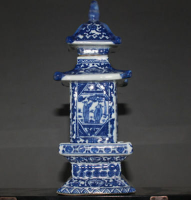 delicate Chinese Jingdezhen ancient pagoda blue and white porcelain vase  M09