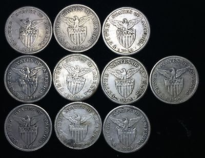 1909s US-Philippines 1 Peso Silver Coins (10 pcs)- lot #14