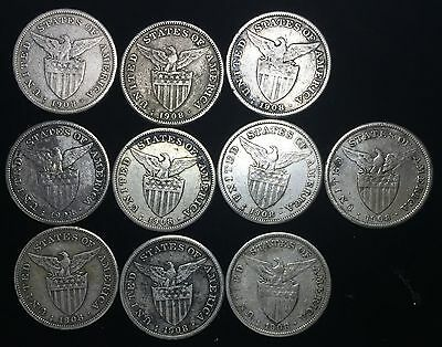 1908s US-Philippines 1 Peso Silver Coins (10 pcs)- lot #7