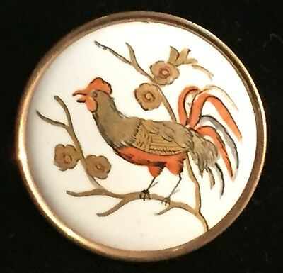 GORGEOUS ANTIQUE 19th CENTURY PORCELAIN BUTTON W/ HAND PAINTED ROOSTER DOM FOWL