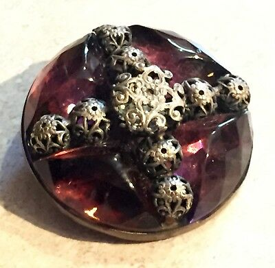 GORGEOUS LARGE ANTIQUE 19th CENTURY AMETHYST GLASS IN METAL BUTTON