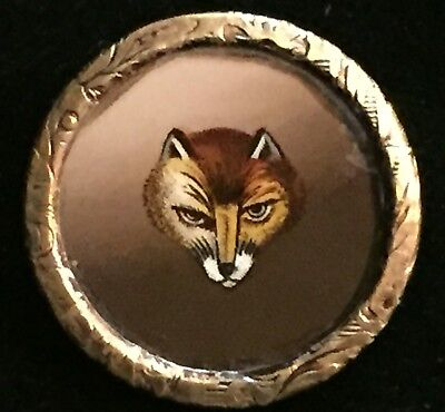 GORGEOUS ANTIQUE 19th CENTURY REVERSE PAINTED ANIMAL FOX GLASS IN METAL BUTTON