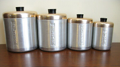 Vintage 4 Piece Aluminum Canister Set by Century