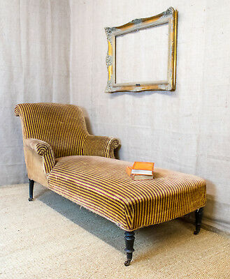 Antique French Chaise Longue, sofa, unusual shape, scroll back & arms, striped