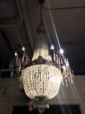 Antique style french crystal chandelier, 4 feet high 2.5 feet wide
