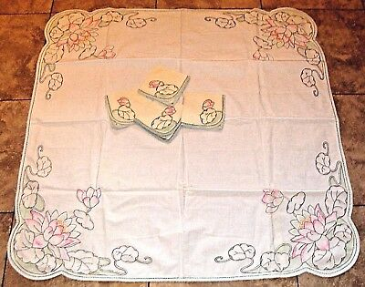 Vintage Embroidered Square Arts & Crafts Tablecloth & Napkins Pink Water Lily