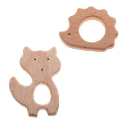 2pcs Wooden Baby Teether Toy Newborn Kids Teething Toys Baby Shower Gifts