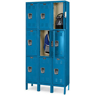 "HALLOWELL Premium 3-Tier Steel Locker - 12x18x24"" Opening - 3 Locker Wide -"