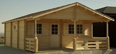 DIY 19ft x 32ft 480 sq ft 4 room Log Cabin Kit with 115 sq ft covered porch