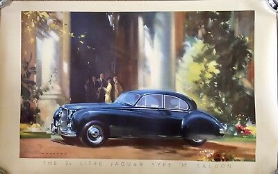 Rare original Jaguar 3.5 Litre Type M Saloon garage showroom car poster c 1950