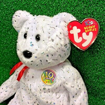 NEW Ty Beanie Baby Decade The White Version 10 Year Bear - MWMT - FREE Shipping