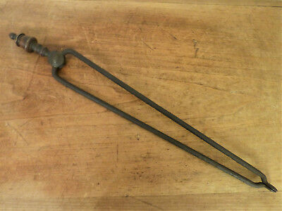 Antique 19th C HEARTH Tool Brass Forged Hand-Wrought Iron FIREPLACE Tongs