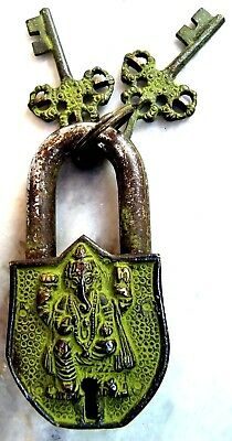Handmade Brass Lord Ganesha Engraved Door Lock With Key Vintage Antique Style