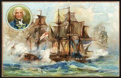 Q C WASHDAY SOAP Victorian Trade Card 1880s LORD HOWE English Fleet 1874 Frigate