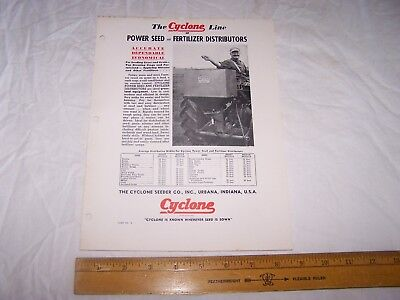 Vintage CYCLONE SEEDER Seed & Fertilizer Distributors URBANA INDIANA Info Sheet