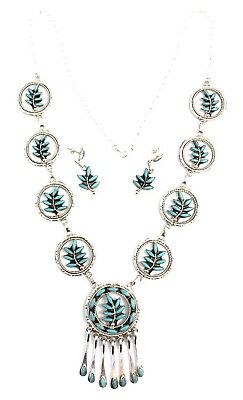 Native American Sterling Silver Zuni HandmadeNeedle Point Turquoise Necklace Set