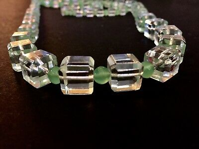 """Vintage ART DECO Clear Square and Green Round CRYSTAL BEADS~24"""" String"""