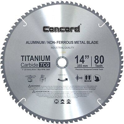 Non-Ferrous Aluminum Metal Cutting Dick Blade 14 Inch 80 Teeth TCT Saw Titanium