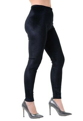 Womens Ladies Plain Velvet Leggings Full Length Soft Velour Stretch Legging 8-18