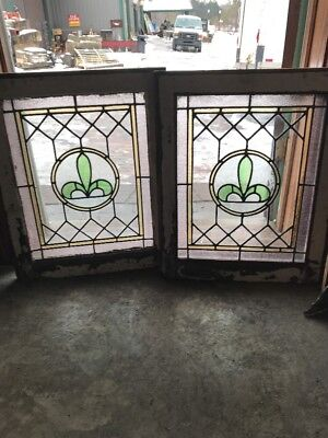 Sg 1752 Match Pair Antique Fleur-De-Lis Stainglass Window 20.5 X 25 H