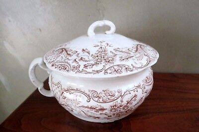 J and G Meakin English Brown Chamber Pot Utopia Pattern