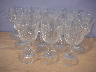 """12 Cross & Olive Crystal Footed Liqueur Glasses 4"""" h"""