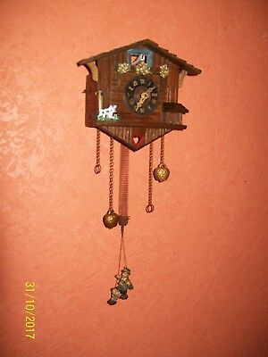 Antique Working Spring Pendulum/ Musical Wall Mounted Swiss Chalet Clock/Cuckoo