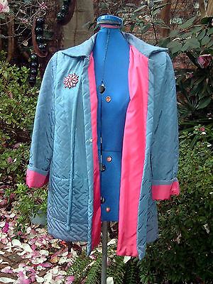 1950s vintage swing Easter coat jacket blue hot pink rhinestone pin quilted sm