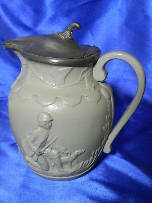 EXTREMELY RARE Antique T. Booth Hanley Hunter Molded Relief Jug mid-1800s VT1765
