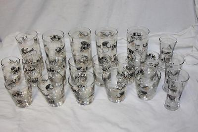20 Libbey Victorian Buggy Carriage Bar Ware Cocktail Cordial Glasses Black Gold