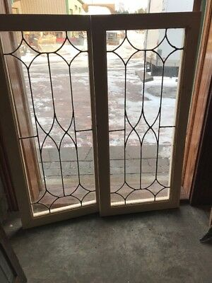 Sg 1761 Two Available Price Each Leaded Glass Transom Window 18.5 X 40.25