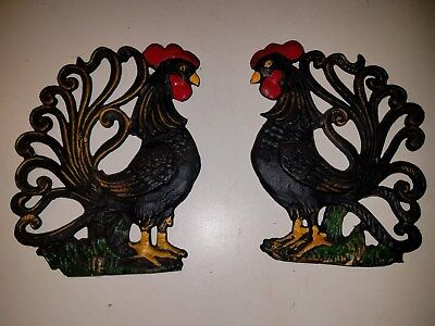 "(2) Vintage Cast Iron Roosters Wall Hanging Plaque Country Kitchen 7"" x 6.5"""