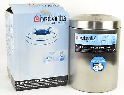 "Brabantia Stainless Steel Flame Guard Exstinguising Waste Bin Trash Can 11"" Tall"
