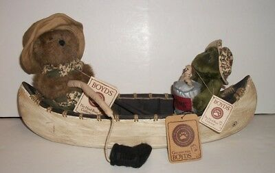 Boyd's Bears Jasper T. Fisher + Paddles Frog with Canoe Signed Numbered Tags