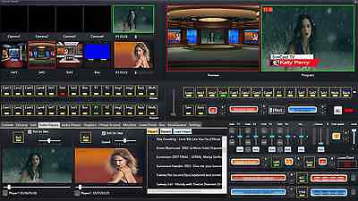 Video Live Broadcasting Software with Video switcher mixer green screen removal