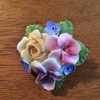 Vintage Thorley Brooch Hand Painted Bone China Floral Bouquet Made in England
