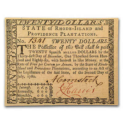 1780 $20 Rhode Island Currency 7/2/1780 AU