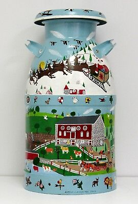 Hand Painted Milk Can - Amish - PA - 10 Gal - Signed - HOLIDAY - FREE SHIP USA